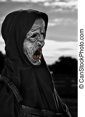 Creepy Halloween Mask - A portrait of a creey scary looking...