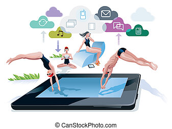 Diving Into A Pool Tablet - A boy and a girl diving at the...