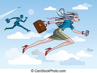 Business Woman Running Through Clouds - Business Woman and...