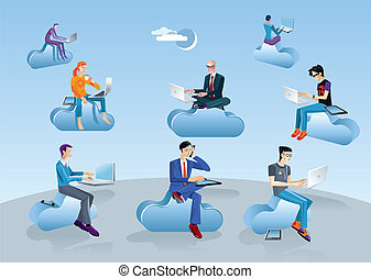 Cloud Computing Men Sitting In Clouds - Men a women flying...