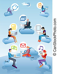 Cloud Computing Men Women And Icons - Eight character four...