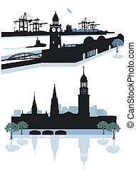 Hamburg Silhouette - Hamburg harbor and city center