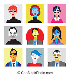 Faces of businessmen and businesswomen for internet avatar -...