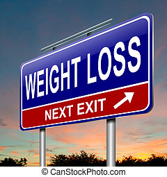 Weight loss concept - Illustration depicting a roadsign with...