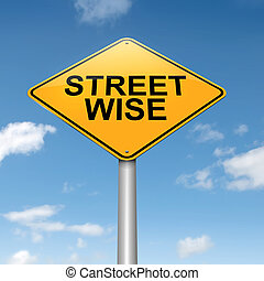 Street wise concept - Illustration depicting a roadsign with...