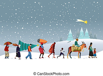 Multi-ethnic group Christmas - caravan of people of...