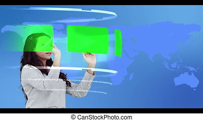 Woman browsing through interactive copy space library on...