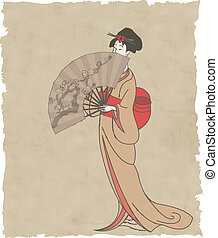 Japanese girl with a fan on old paper - vector illustration