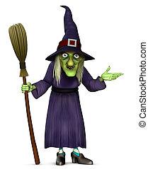 harridan with broom