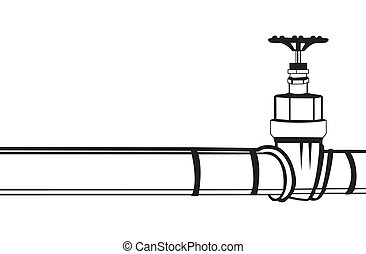 Industrial pipeline and Gas valve. Vector illustration.