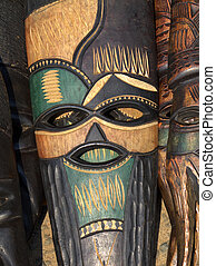 African mask - Decorated hand made wooden mask carved from...