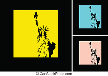the vector retro Statue of Liberty background