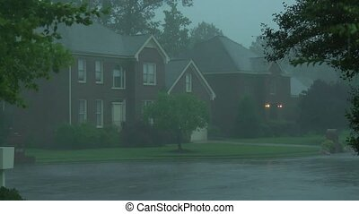 Suburban storm - Heavy rain and wind in a Virginia suburb.