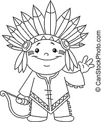 Outlined Indian kid Coloring page