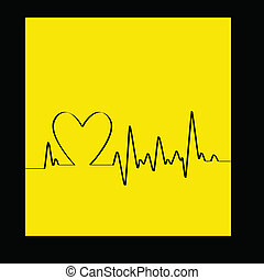 White Heart Beats Cardiogram on Yellow background