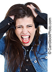 Young woman going crazy - Beautiful young woman with long...