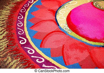 Indian kolam with flower pattern - Colorful Indian kolam...