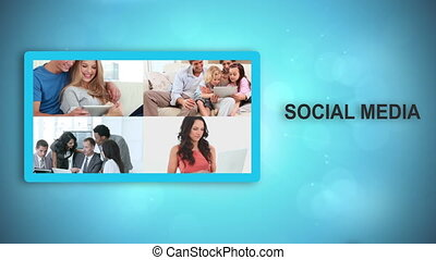 Black animated hands moving social media videos and text on...