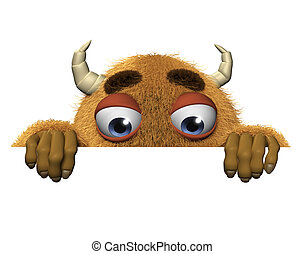 3d cartoon halloween brown monster