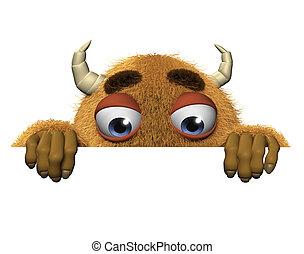 3d cartoon halloween brown monster