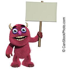 3d cartoon cute furry monster holding blank