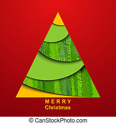 Paper christmas tree on red background