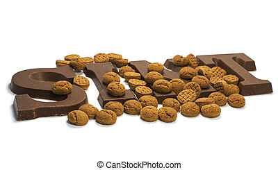 chocolate letters - The word Sint in chocolate letters for...