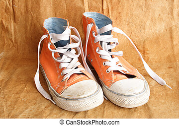 Tennis shoes - Pair of womens used orange trainers and laces...