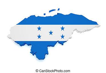 Honduras Map 3d Shape - Shape 3d of Honduras map with flag...