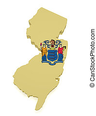 New Jersey Map 3d Shape - Shape 3d of New Jersey map with...