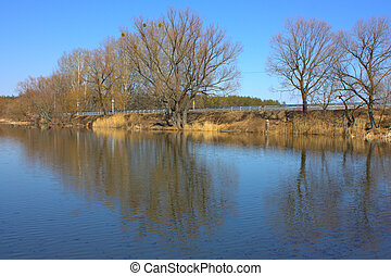 Beautiful spring landscape with yellow trees reflection in water