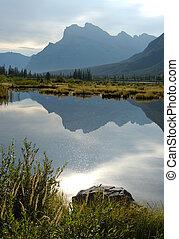 Mountain Vermillion Lake - Reflection of Mountain in...