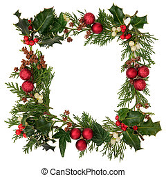 Christmas Border - Christmas decorative border of holly,...