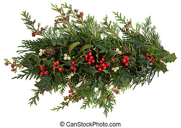 Holly, Ivy, Mistletoe and Cedar Leaves - Winter and...