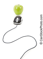 online learning - green apple and computer mouse, concept of...