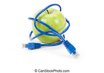 Danger of internet - Green apple and Network cable, Danger...