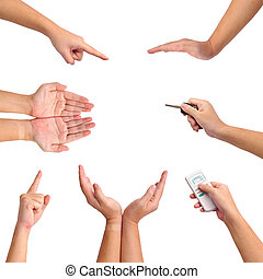 Collection of different gesture of hands isolated on white....