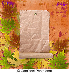 Autumn background with foliage and grunge papers design in scrapbooking style