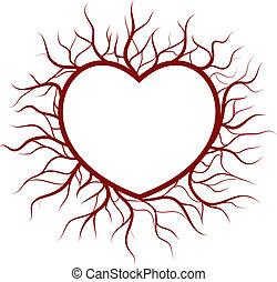 Heart in veins nimbus - Vector EPS8. Heart and veins are on...