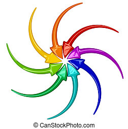 turning arrows - Collection of turning colour 3D arrows on...
