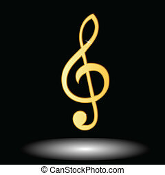 Golden music note button on a black background