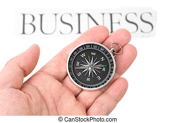 Compass and business sign close up shot