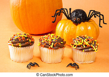 Halloween Cupcakes with Spiders