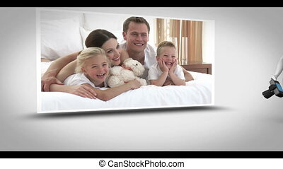 Family photography animation with digital figure taking...