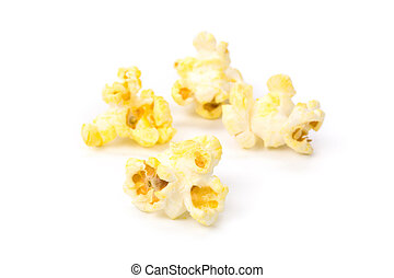 Popcorn with white background close up shot