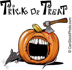 Halloween pumpkin - Vector spooky halloween pumpkin