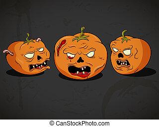 Halloween pumpkins - Vector spooky halloween pumpkins