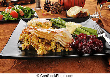 Thanksgiving dinner - Turkey and stuffing with cranberry...