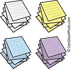 Notes Stacked Colors - Stack of paper notes in various...