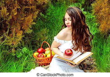 jovem, mulher, maçã, livro, pomar, cesta,...